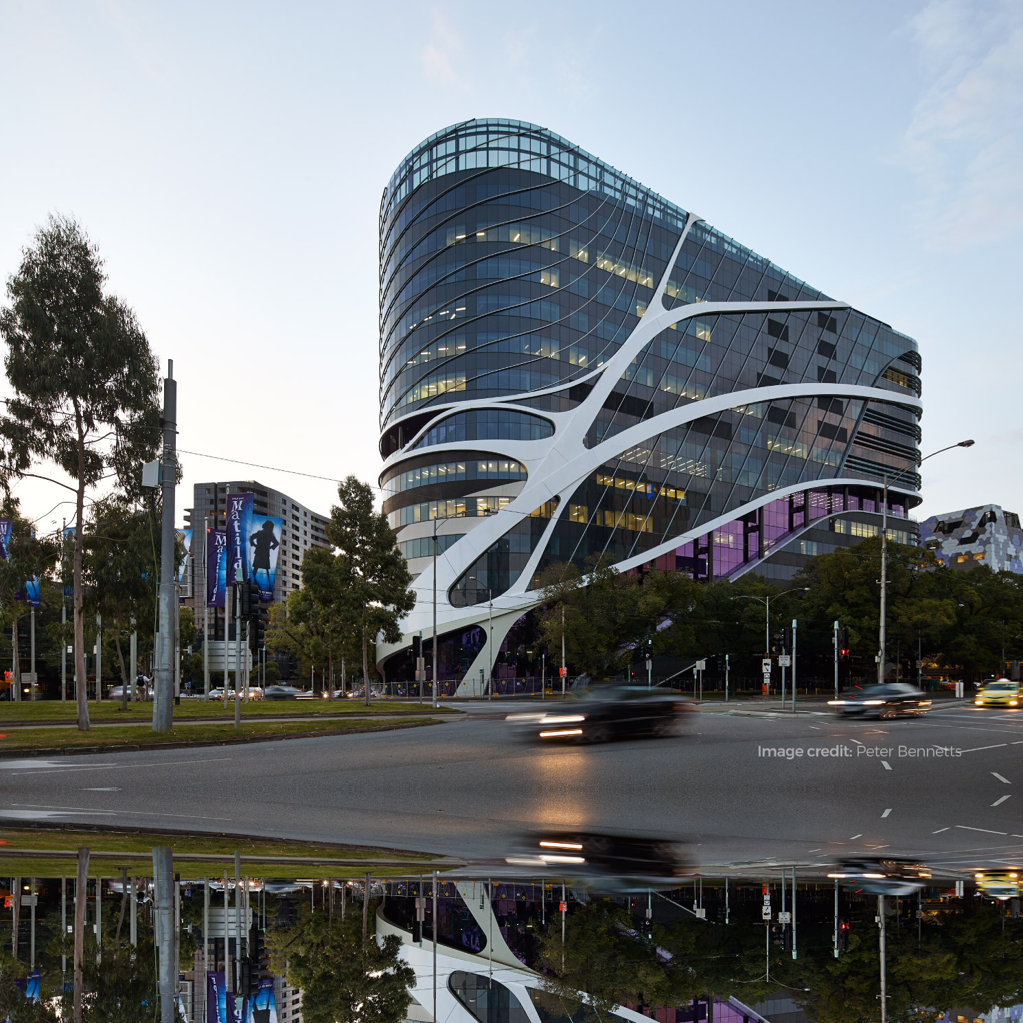 External photograph of the VCCC building in the Melbourne Biomedical Precinct