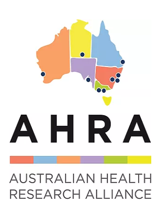 Australian Health Research Alliance logo, a colourful map of Australia