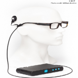 Bionic eye glasses and headgear displayed on a mannequin with the receiver attached.