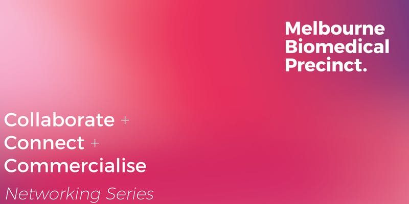 Pink banner logo for the Melbourne Biomedical precinct networking series